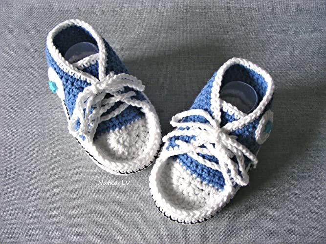 76ca94a544d25 Blue baby booties, baby sneakers, crochet baby boy booties, baby ...