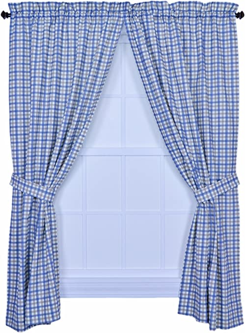 Ellis Curtain Bristol Collection Two Tone Plaid 68 By 63 Inch Tailored Panel Pair Curtains With Tiebacks Blue Home Kitchen