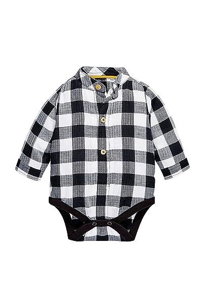 next Bebé Niño Body Pelele Estilo Camisa Cuello Mao A Cuadros De Algodón (0 Meses