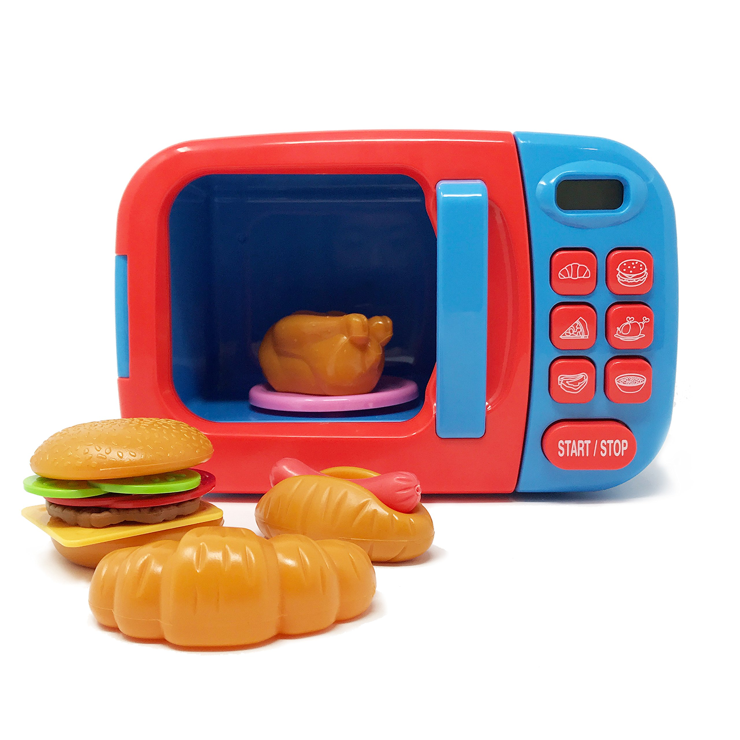 Boley Microwave Kitchen Play Set with Pretend Play Fake Food - Great for Toddlers Ages 3 and Older - Educational Battery Powered Playset with Lights and Sounds - Blue by Boley