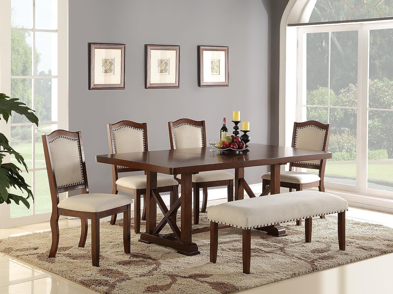 Super Amazon Com Dining Room Formal Look Classic 6Pc Set Dark Machost Co Dining Chair Design Ideas Machostcouk