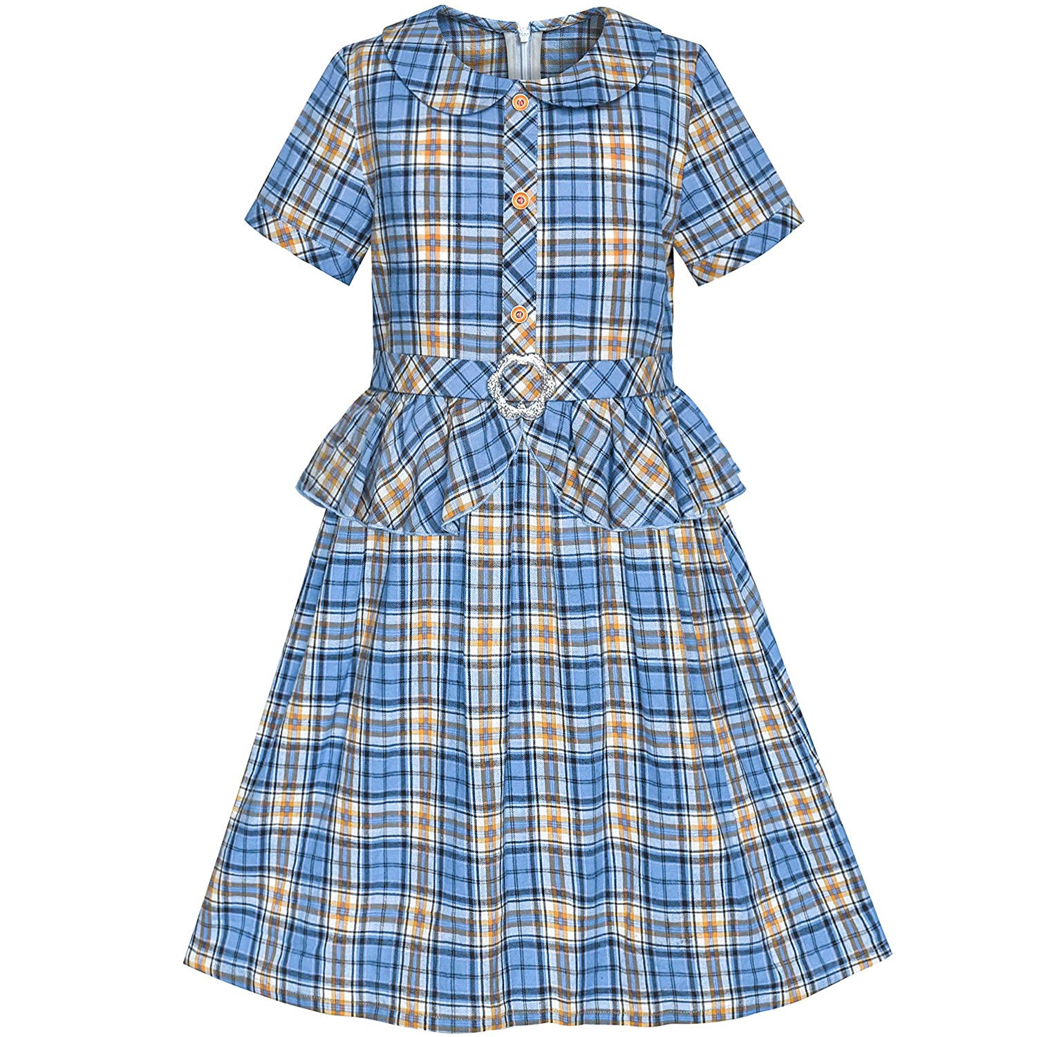 Sunny Fashion Girls Dress 2-in-1 Blue Tartan School Uniform Pleated Hem Belted
