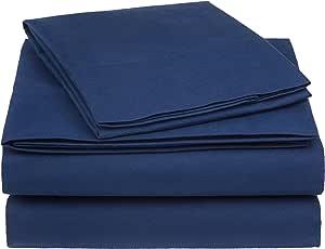 AmazonBasics Essential Cotton Blend Sheet Set -Twin, Navy