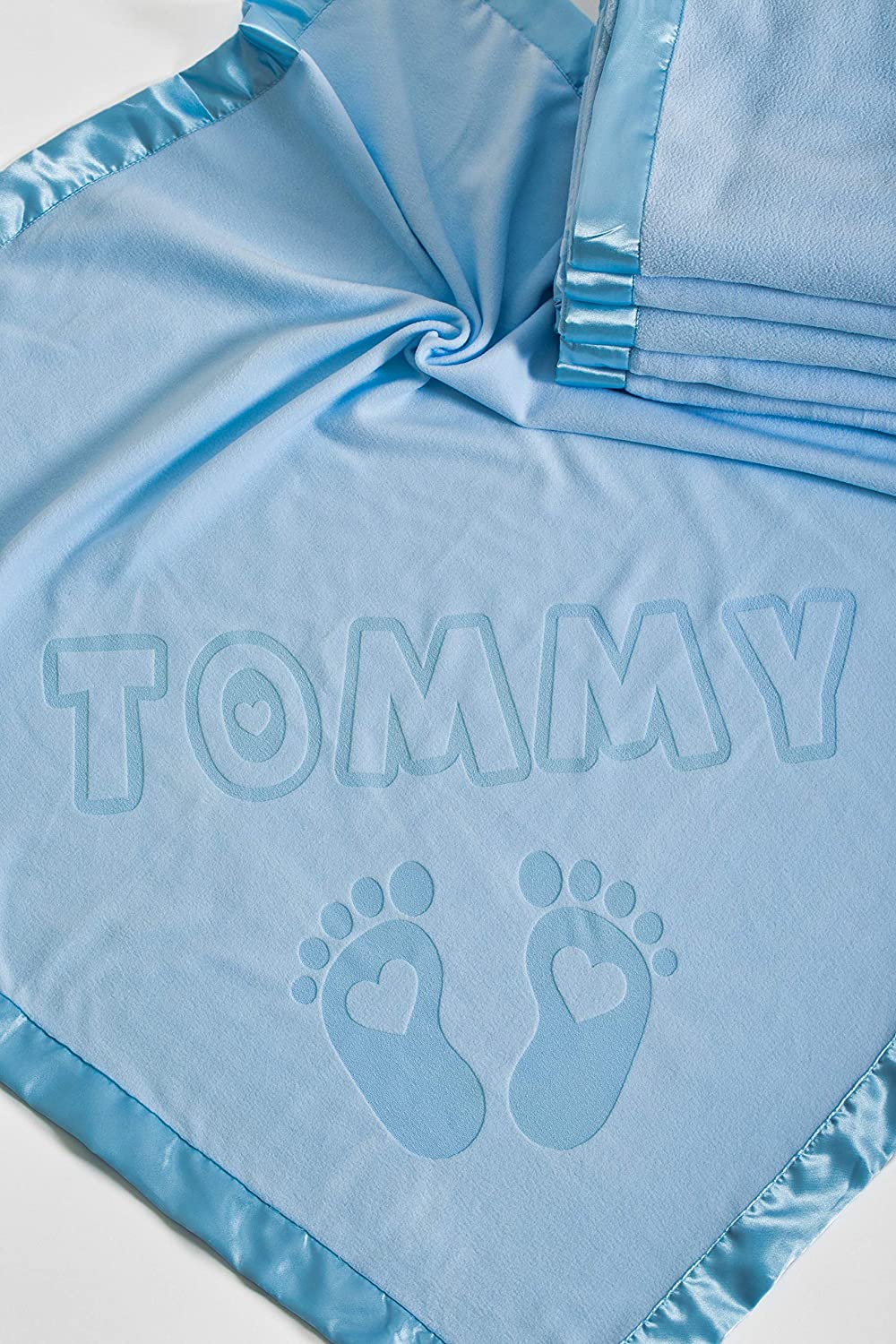Or Parents Satin Trim Size 80x80CM Gifts for Baby Girls Personalised Baby Cot Blanket with Name and Feet Design Boys