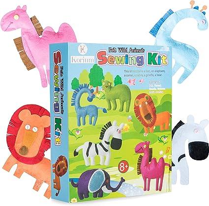 Kit de costura de los niños Hacer Su Propio Fieltro 6 animales salvajes Actividad Craft Aprendizaje