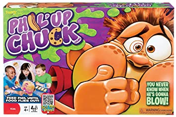 Phil'Up Chuck game box with a cartoon figure about to vomit
