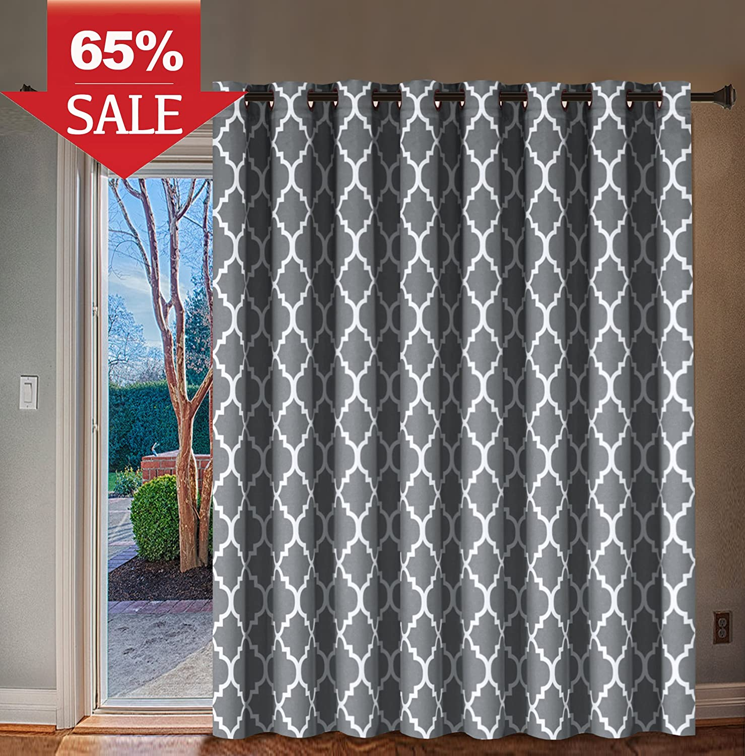 Printed Blackout Curtain Room Darkening Rod Pocket Panel Drapes for Short Window, 42 inches Wide by 63 inches Long (Burgundy Red) - Decorative Curtain by H.Versailtex