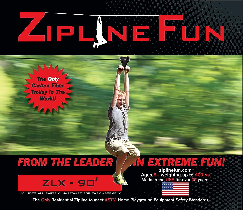 amazon com adventure parks zlx xtreme zip line 90 u0027 toys u0026 games