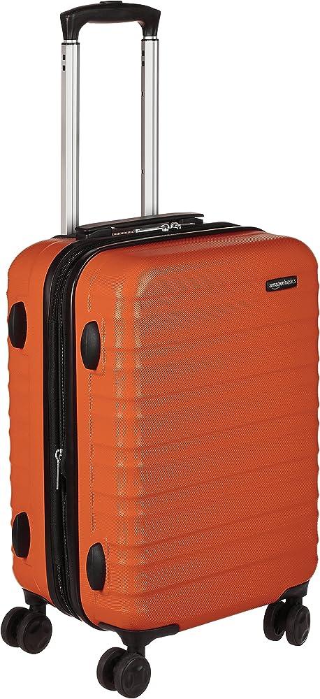 6defbf1fe AmazonBasics Hardside Carry On Spinner Travel Luggage Suitcase - 20 Inch,  Orange