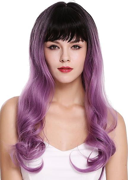 WIG ME UP- G1813R-716R4 peluca de mujer pelo largo ondulado flequillo castaño oscuro violeta lila mix: Amazon.es: Belleza