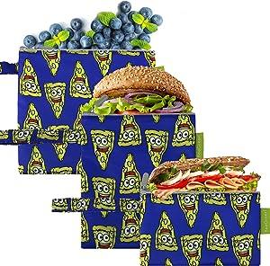 Pizza Patterns Reusable Sandwich Bags Bulk 3 Pack Washable Snack Bags Cute Food Prints Eco Friendly Cloth Food Wraps Lunch Bags Royal Blue