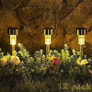Sowsun Solar Pathway Lights Outdoor ,Solar Powered Landscape Garden Lights for Pathway ,Lawn, Patio, Yard,Path,Walkway Decoraiton-12 Pack(warm white)