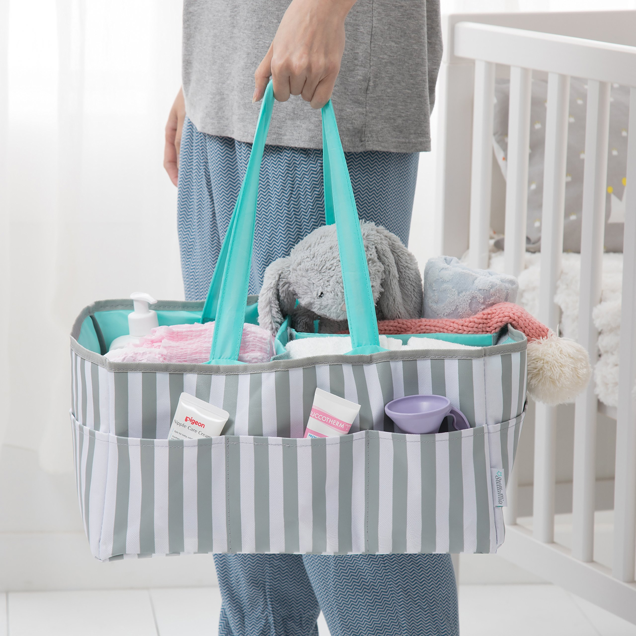 Stella Mia Diaper Caddy [Bonus Changing Pad] - Extra-Large Portable Nursery Diaper Stacker - Changing Table Organizer for Baby Essentials - Perfect Baby Shower Gift, Baby Registry Must Have by Stella Mia (Image #5)