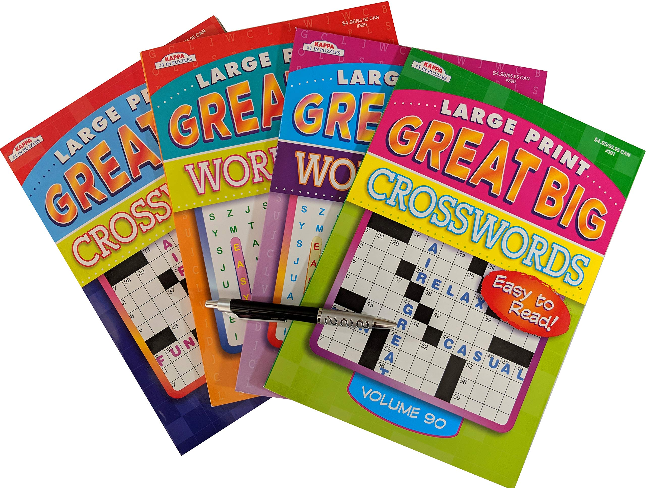 Large Print Puzzle Books Pack for Seniors: 2 Great Big Crossword and 2 Great Big Word Find Puzzles