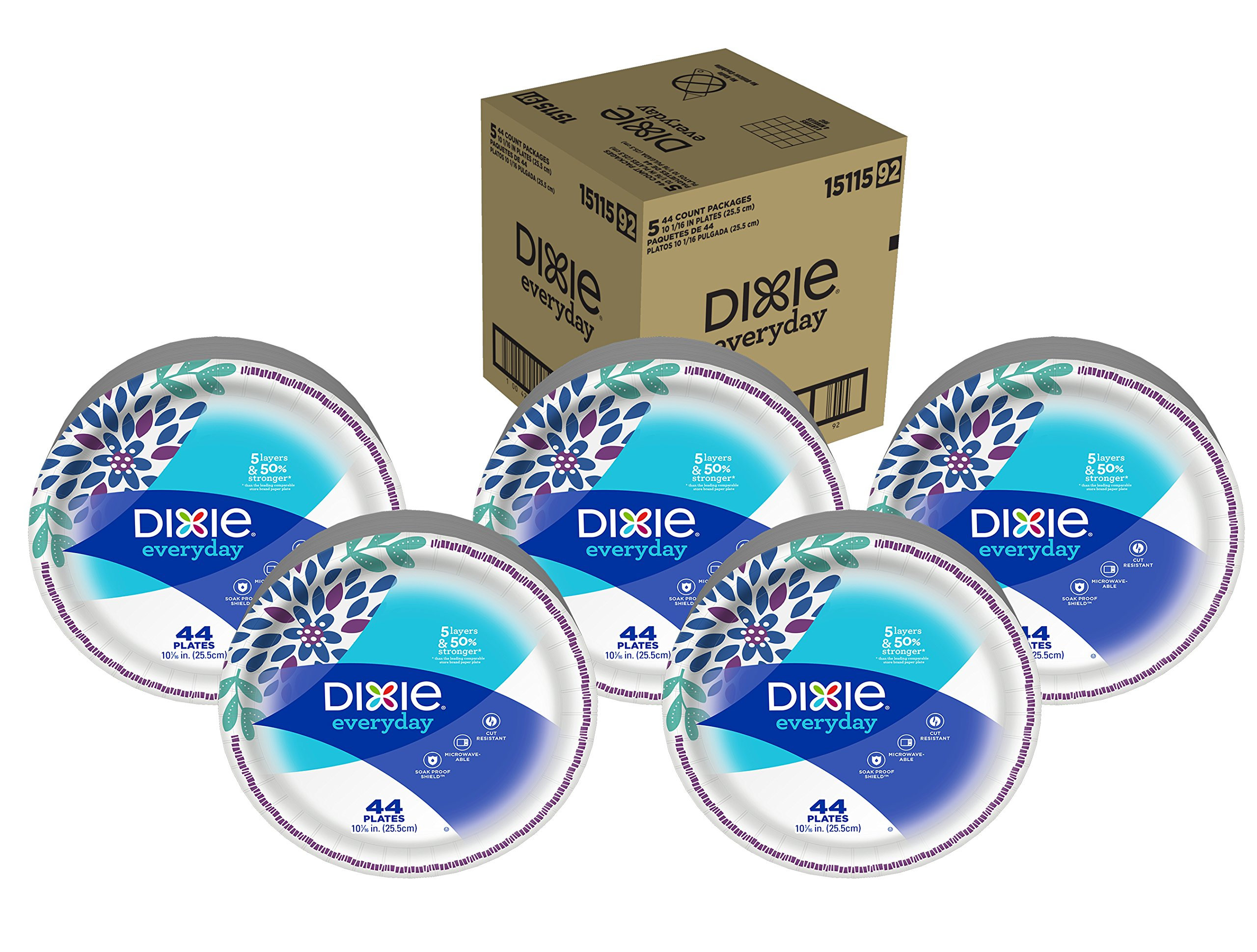 Dixie Everyday Paper Plates, 10 1/16'', 220 Count, 5 Packs of 44 Plates, Dinner Size Printed Disposable Plates by Dixie
