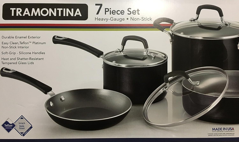 Amazon.com: Tramontina 7- Piece Non Stick Heavy Gauge Cookware Set ...