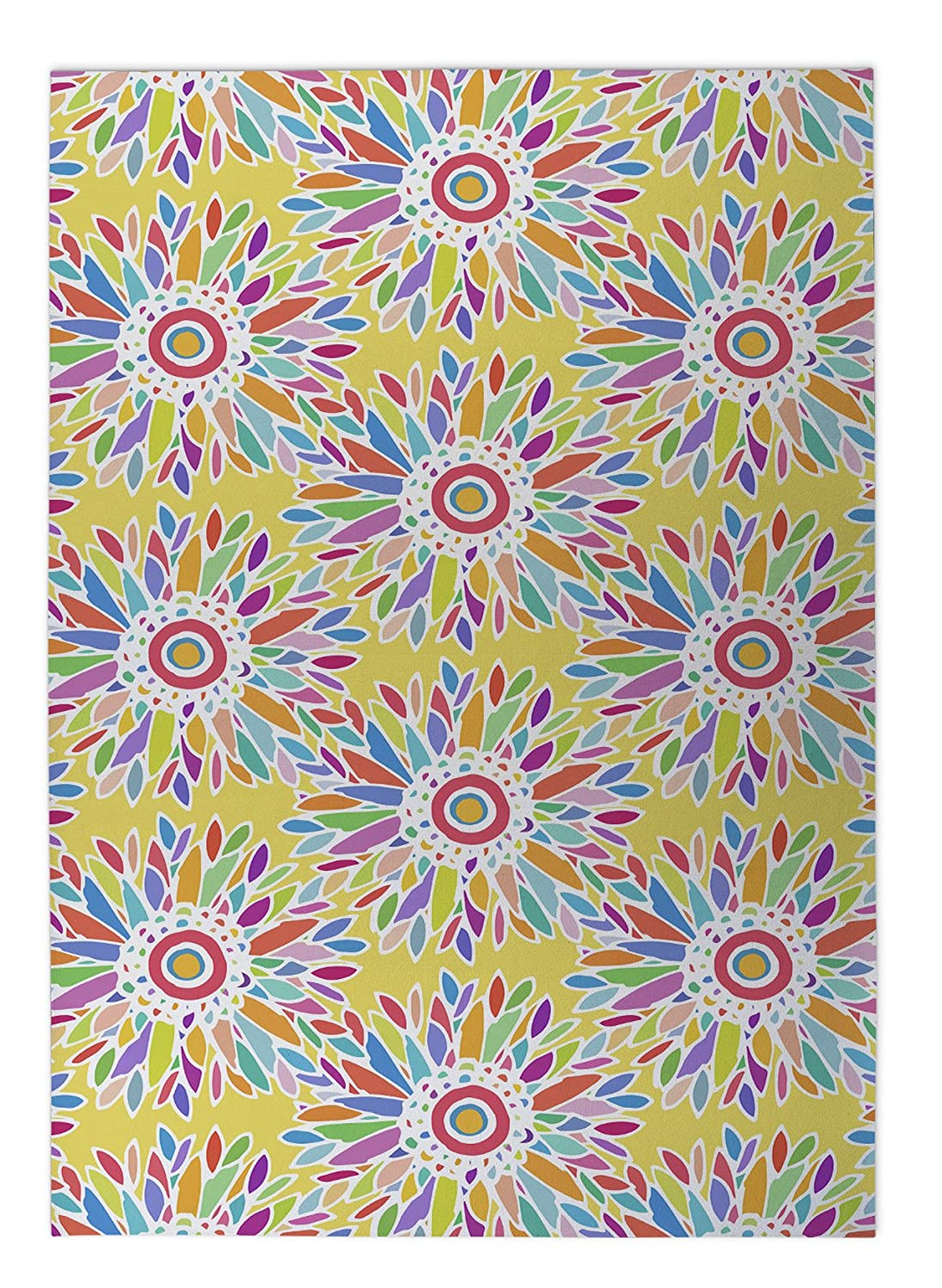 KAVKA Designs Fun Floral Yellow Indoor-Outdoor Floor Mat, Size: 24x36x0.2 - Yellow//Blue//Orang//Red//Purple BGAAVC546FM23 - TRUDYBOOM Collection