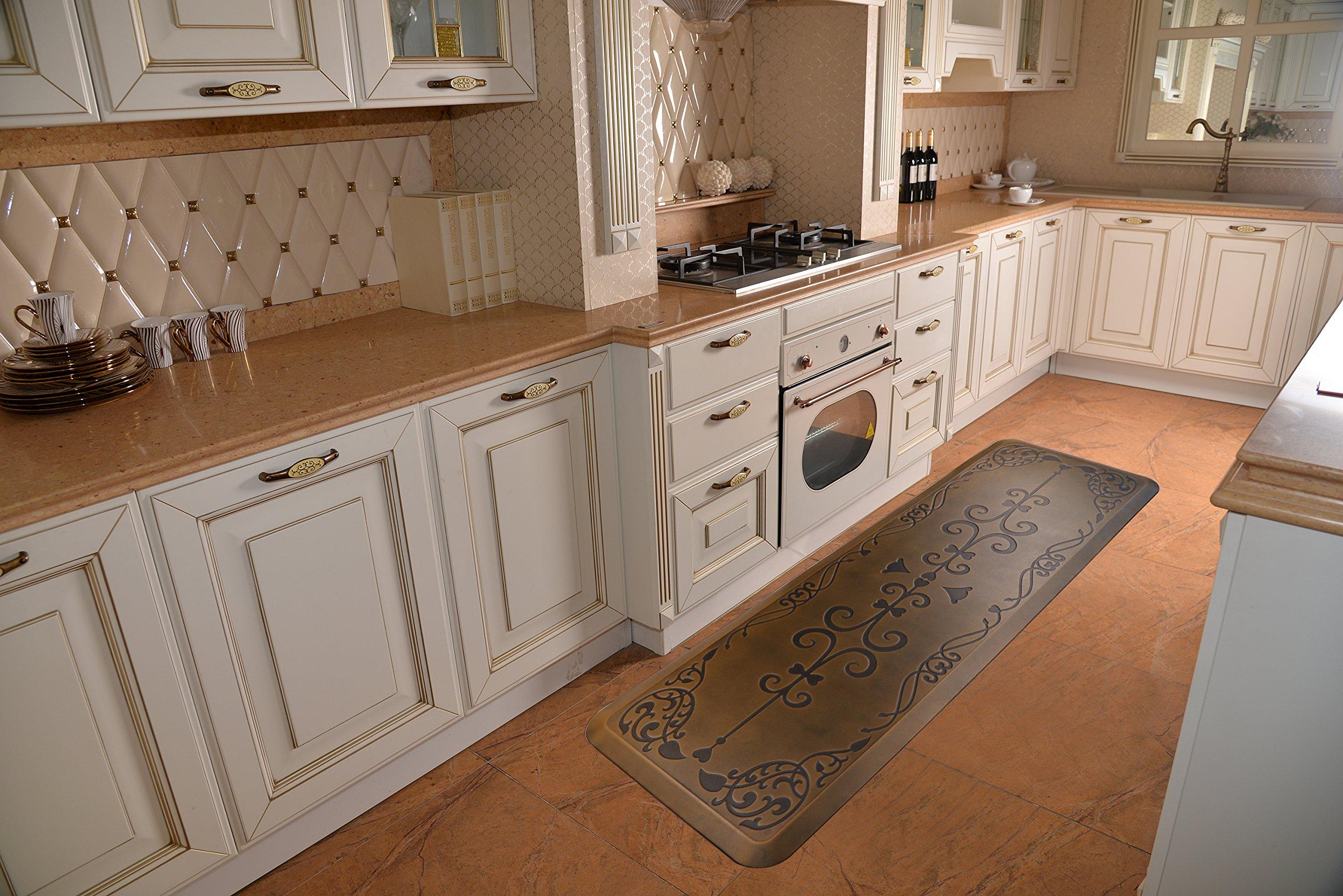 AMCOMFY Kitchen Anti Fatigue Mat,Comfort Floor Mats,Standing Desk Mats,Antique Series (24''x70''x3/4'', Love Flower Brown) by Amcomfy (Image #4)