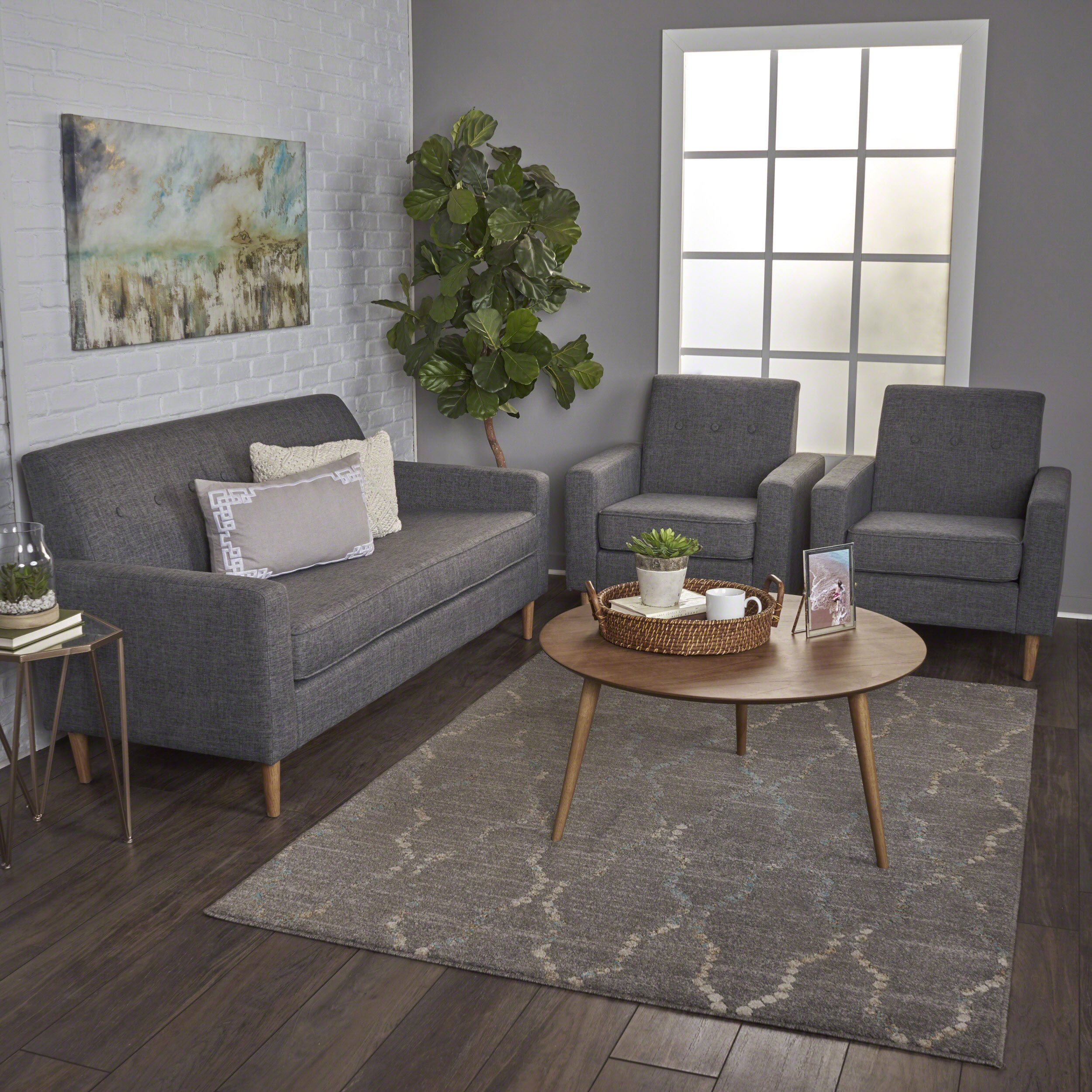 Christopher Knight Home Stratford Mid Century Modern Grey Fabric Sofa and Club Chairs Set by Christopher Knight Home