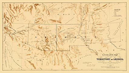 Map Of Old Arizona.Amazon Com Old State Map Arizona Territory From R P Kelley