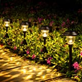 GIGALUMI 8 Pack Solar Pathway Lights, Solar Garden Lights Outdoor Warm White, Waterproof Led Path Lights for Yard, Patio…