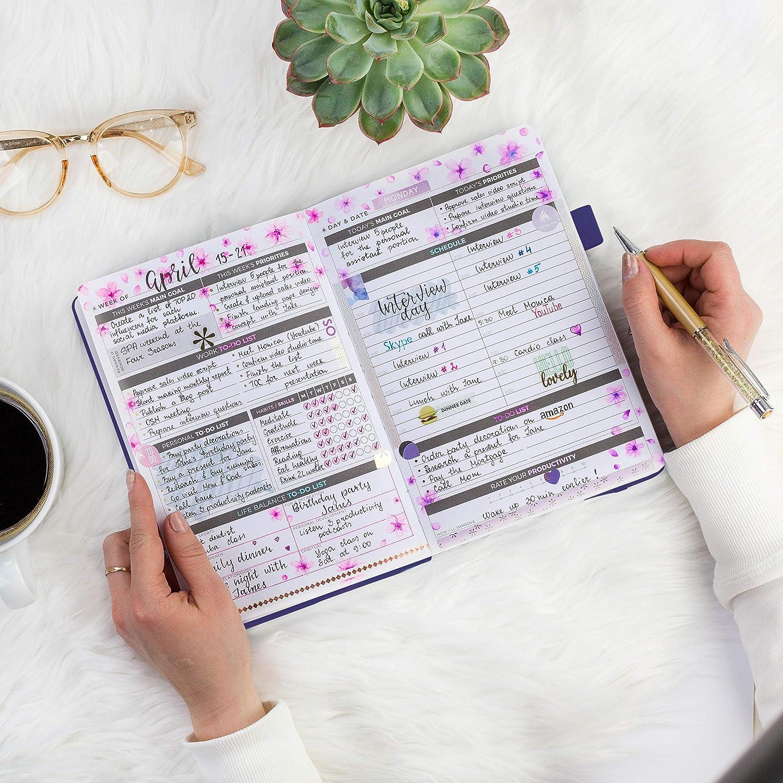 Le meilleur agenda et calendrier quotidien pour stimuler la productivit/é non dat/é A5 Organisateur Agenda quotidien Clever Fox Bleu le bonheur et atteindre vos objectifs en 2019
