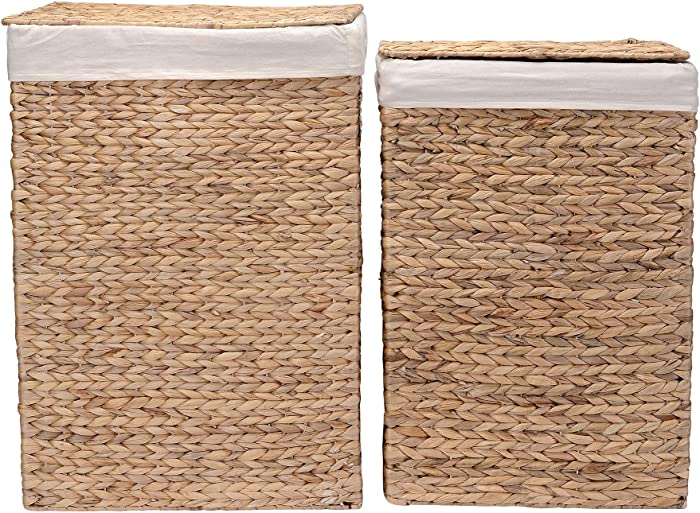Villacera Portable Handmade Wicker Laundry Hampers with Lid made of Water Hyacinth | Set of 2
