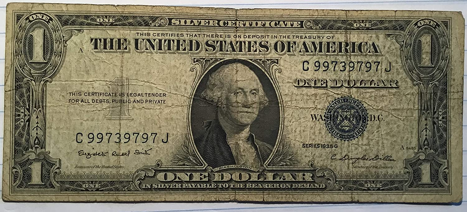 Amazon 1935 Series G 1 One Dollar Silver Certificate Currency
