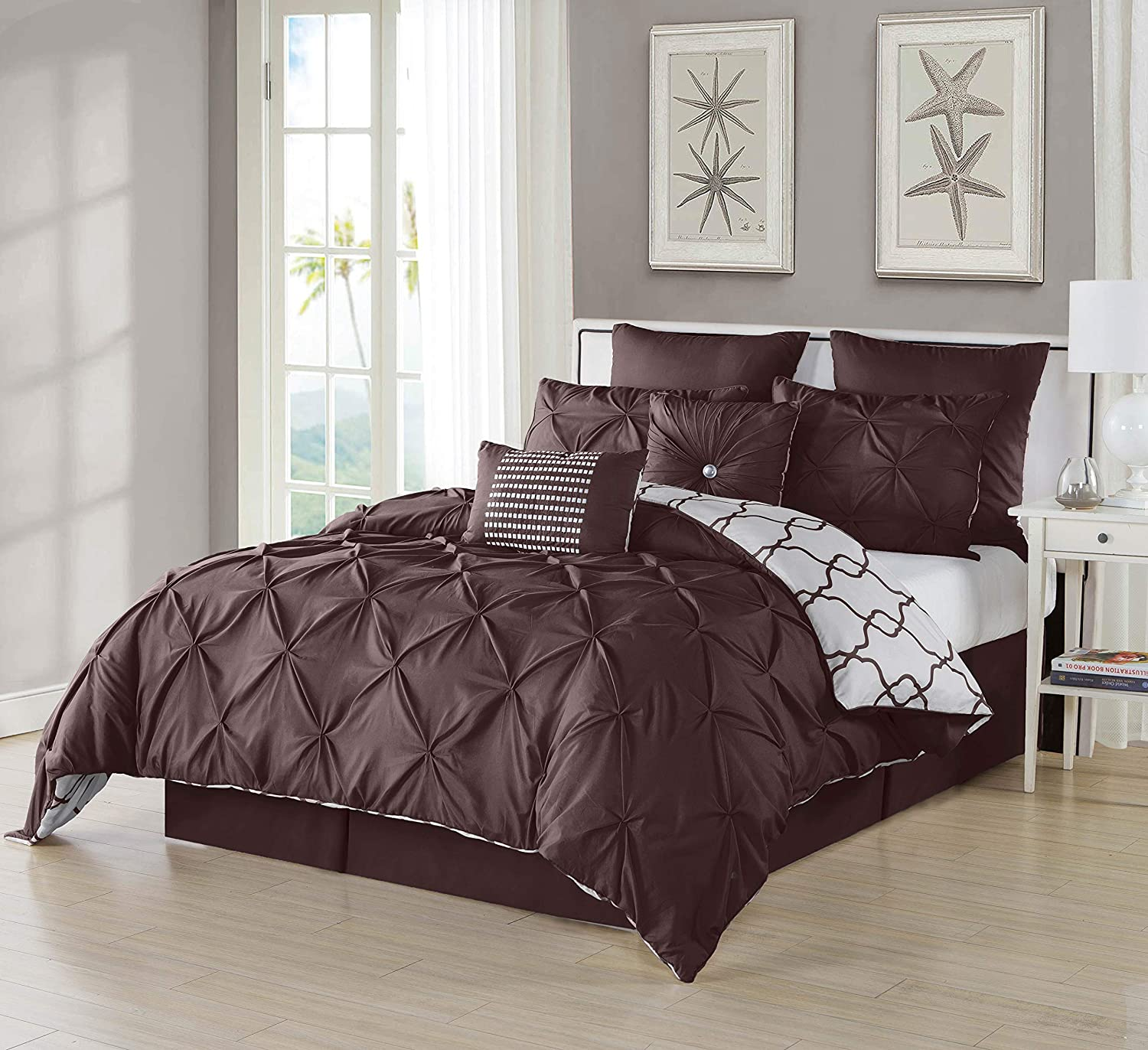 Geometric Pintuck Collection | | Brown Duck River Textile Esy Hotel Quality Luxury Comforter Duvet Insert Cover Hypoallergenic 8 Piece Set Queen Size