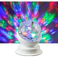X4-LIFE Roterende LED-partylamp RGB, plastic, 3 W, kleurrijk, 10,5 x 8,8 x 8,8 cm