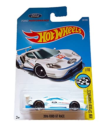 Amazon Com Hot Wheels  Hw Speed Graphics Ford Performance  Ford Gt Race   White Toys Games