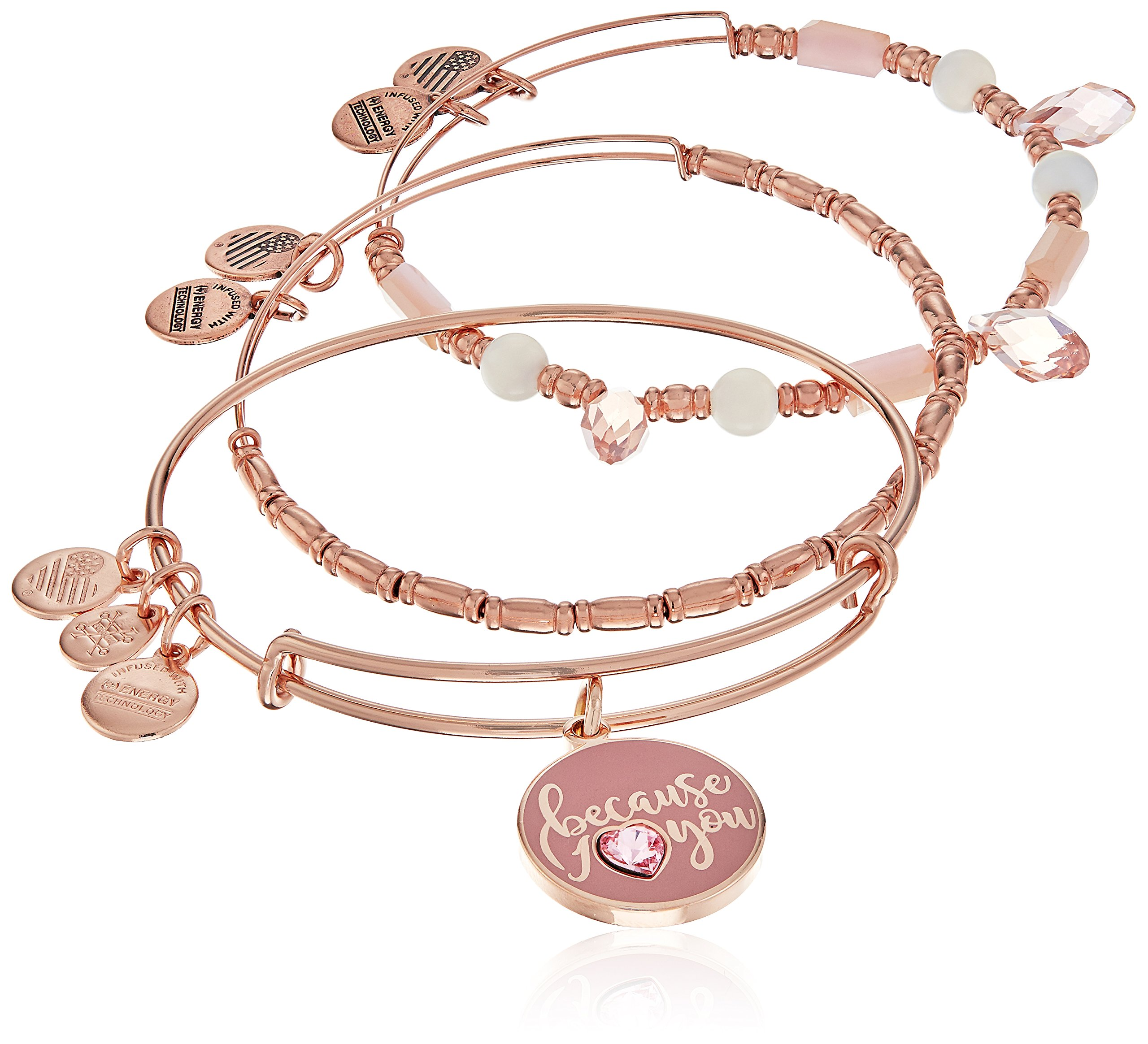 Alex and Ani Because I Love You Charm Rose Gold and Pink Bracelet
