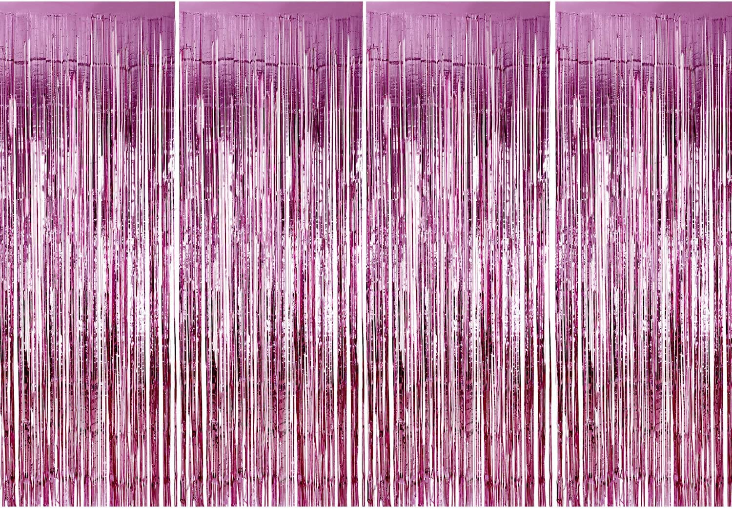 Sumind 4 Pack Foil Curtains Metallic Fringe Curtains Shimmer Curtain for Birthday Wedding Party Christmas Decorations (Pink)