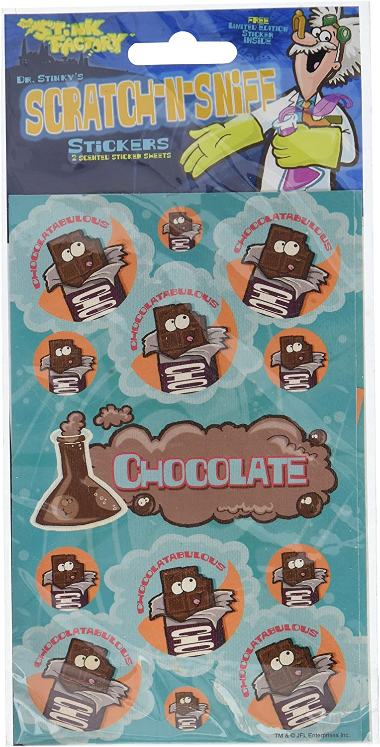 Dr Stinky's Chocolate Scratch-n-Sniff Stickers, 2 sheets 4 x 6 3/4, 26 stickers by Jfl by Just For Laughs