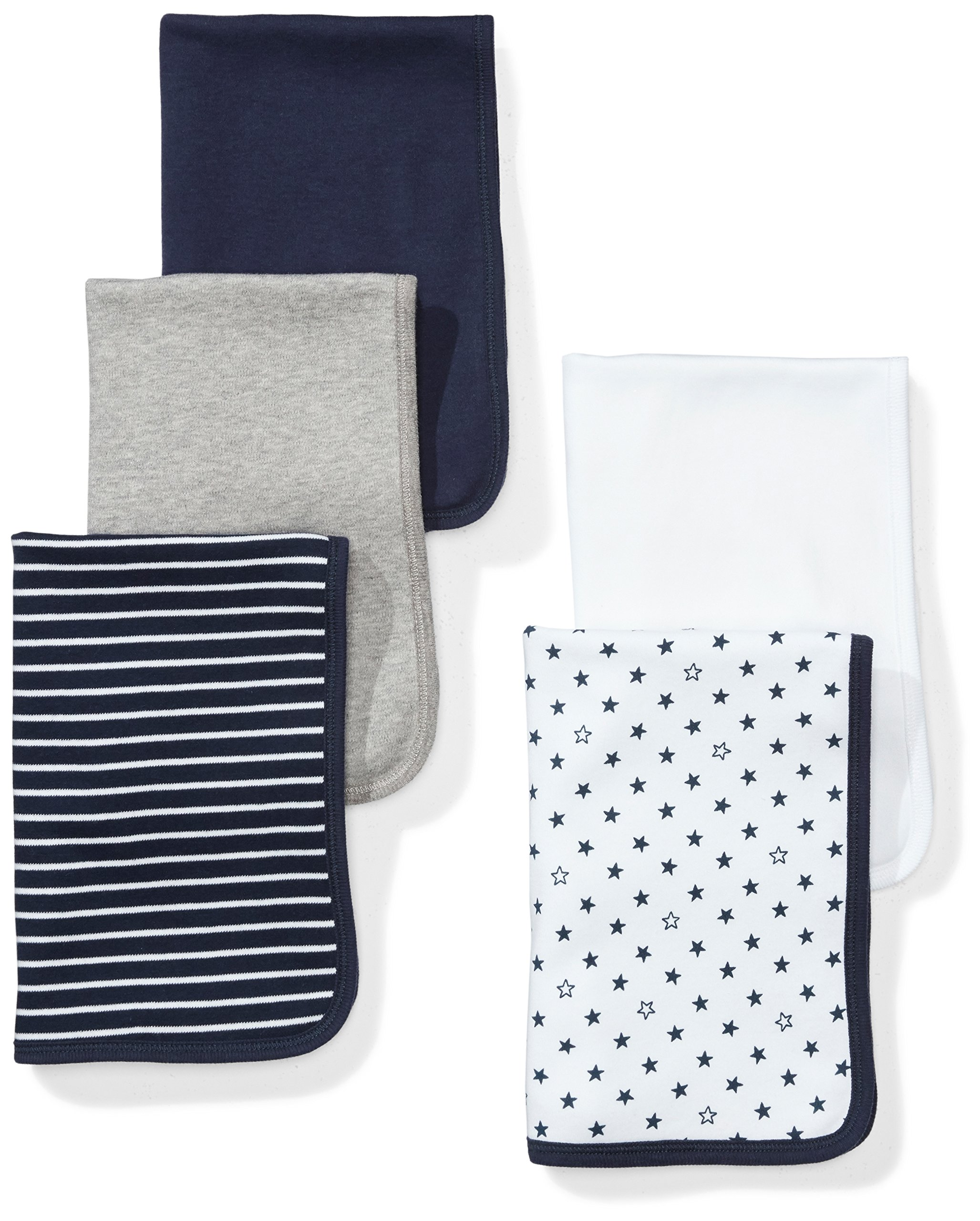 Moon and Back Baby Set of 5 Organic Reversible Lined Burp Cloths, Navy Sea, One Size by Moon and Back
