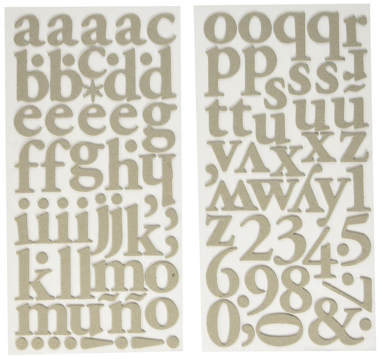 American Crafts DIY Shop 3 Thickers Alphabet Aufkleber 14 cm x 27,9 cm Blatt Regards grau Spanplatten, Acryl, Mehrfarbig