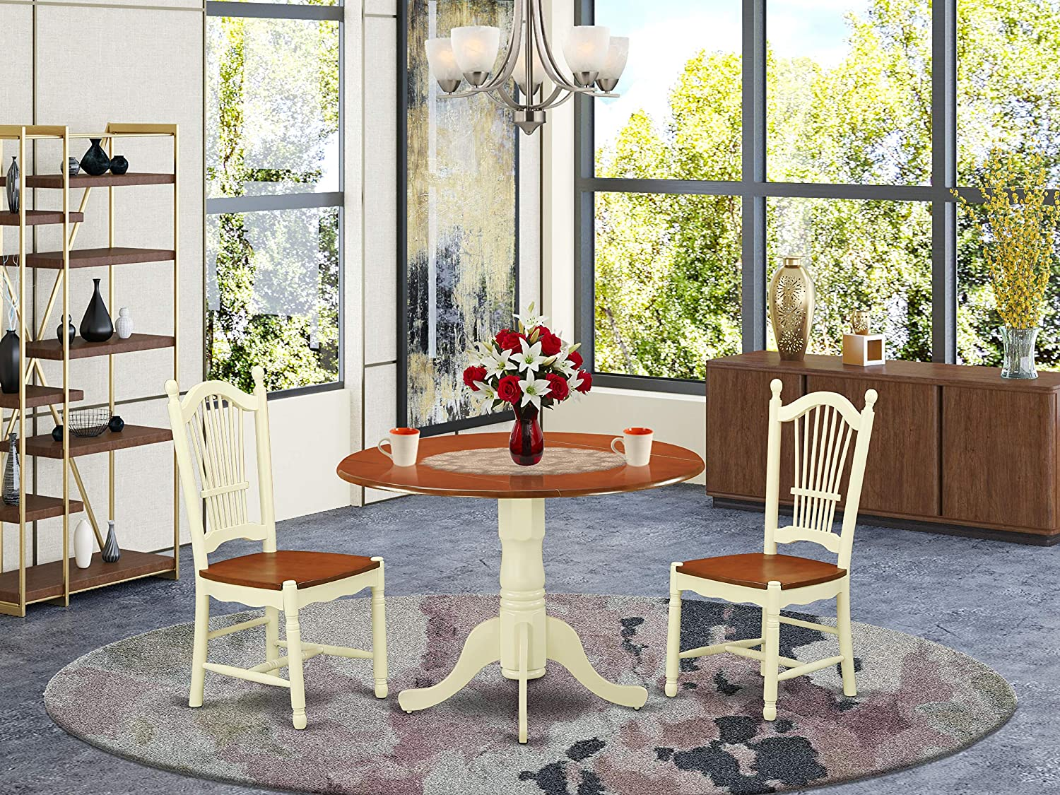Amazon Com 3 Pc Kitchen Dinette Set Kitchen Dinette Table And 2 Kitchen Dining Chairs Furniture Decor