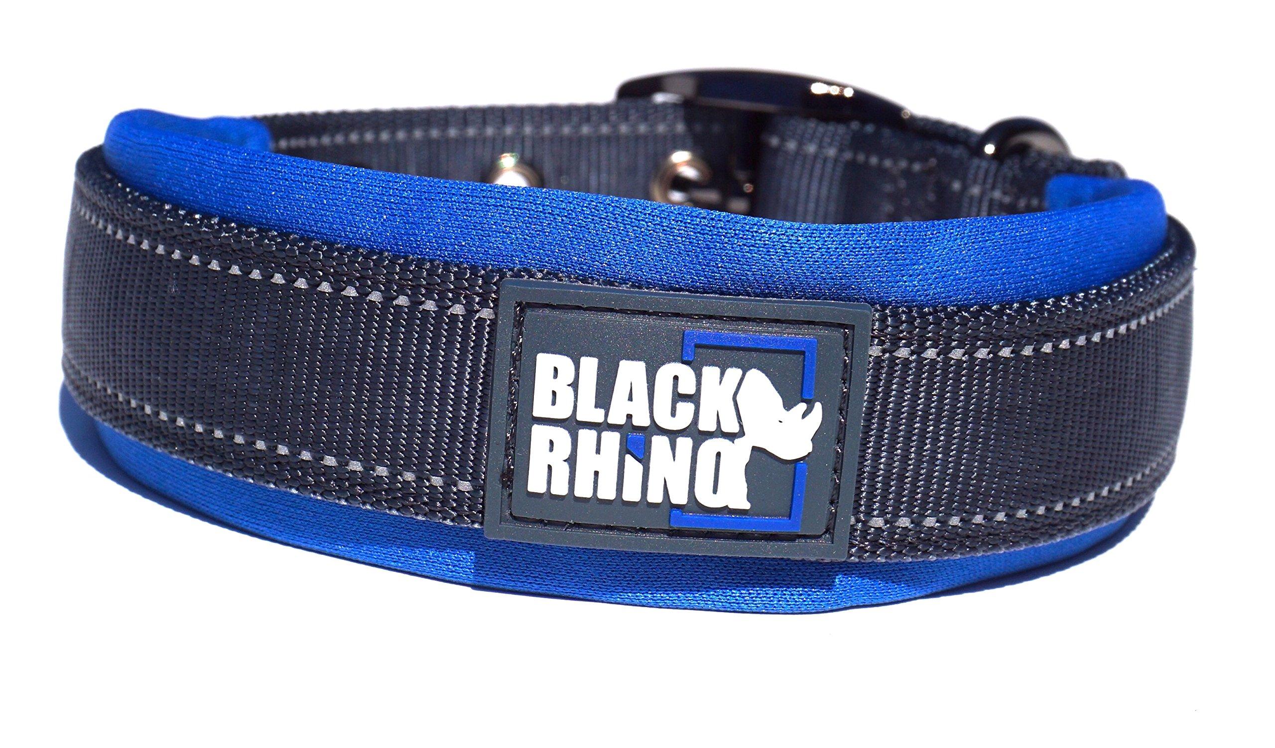 Black Rhino - The Comfort Collar Ultra Soft Neoprene Padded Dog Collar All Breeds - Heavy Duty Adjustable Reflective Weatherproof (Large, Blue/Grey)