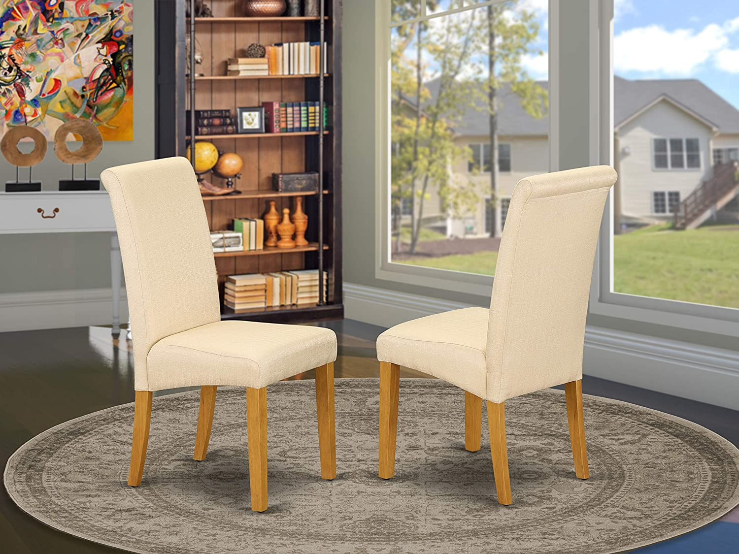 East West Furniture Living Room Dining Chair Nice Light Beige Linen Fabric Hardwood Oak Finish Legs Modern Parsons Dining Chairs Set Of 2 Furniture Decor