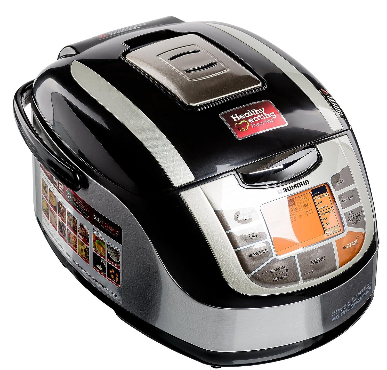 Redmond RMC-M4502E Multicooker/Pentola Cuociriso, 42 funzioni programmabili con Pannello LED, pentola in Acciaio inossidabile da 5l, Ecoceramic, Potenza 1000w, Nero [Classe di efficienza energetica A] 51855