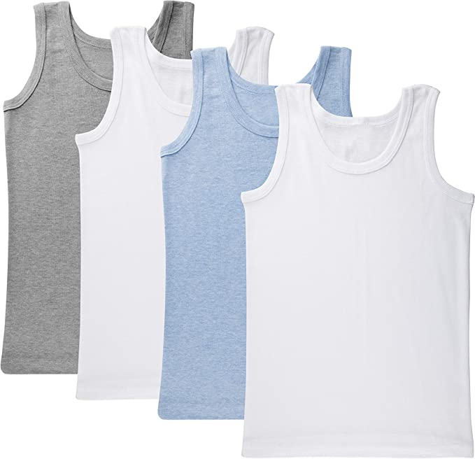 Feathers Boys White Tank 100/% Cotton Super Soft Tagless Undershirts 3-Pack