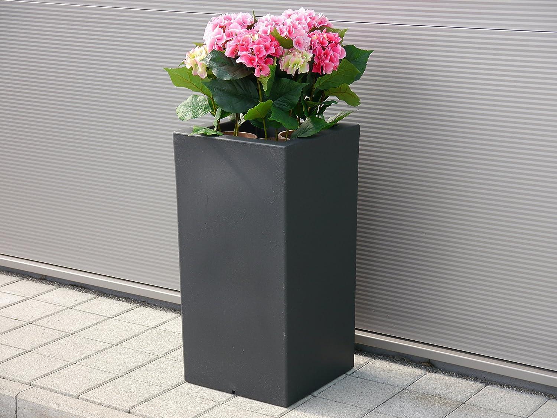 pflanzk bel torino l40x b40x h80cm aus rotations kunststoff in anthrazit mit einsatz. Black Bedroom Furniture Sets. Home Design Ideas