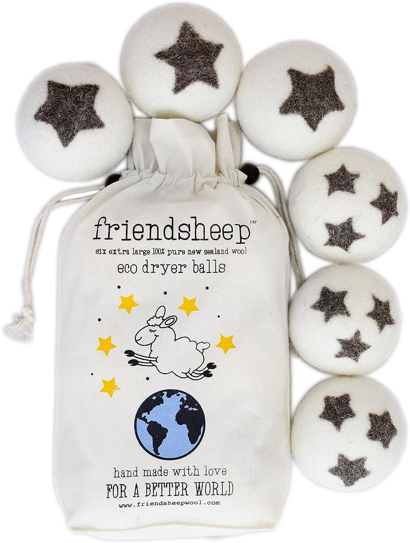 organico Friendsheep palle asciugatrice lana organica Eco nessun residuo di stoffa qualit/à Premium Pack 6-100/% Handmade Fair Trade