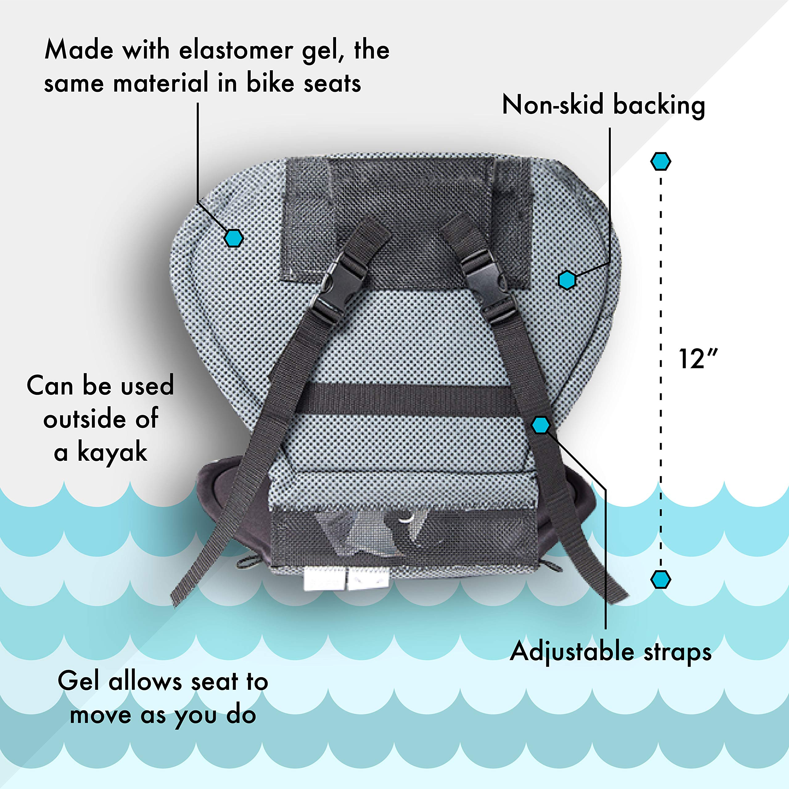 Yakpads Cushioned Seat Pad Gel Seat Pad For Kayaks Portable Seat Cushion For Outdoor Watersports And Recreation Cascade Creek Highback