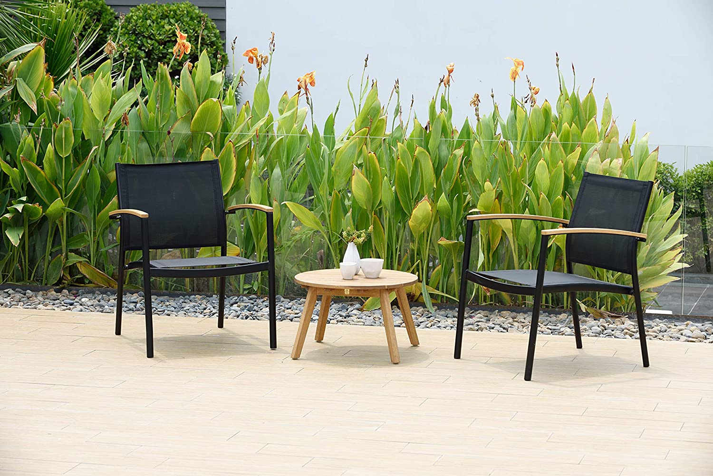 Sunset Vista Designs B7862-B Bamboo Trellis 3-Piece Patio Bistro Set Black