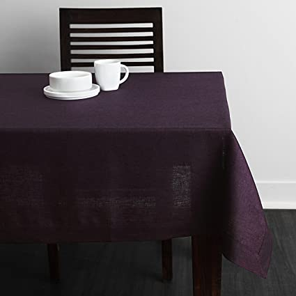 Merveilleux Solino Home 100% Linen Tablecloth   60 X 108 Inch Purple, Natural Fabric,