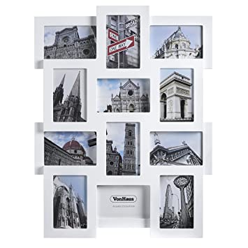 """VonHaus 12 x Decorative Collage Picture Frames for Multiple 4x6""""  Photos - White Wooden Hanging"""