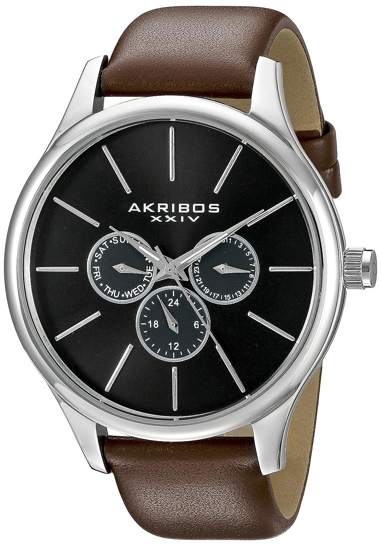 Akribos XXIV Men 's ak870br Round Black Dial Three Hand QuartzステンレススチールStrap Watch B0145FXYC6