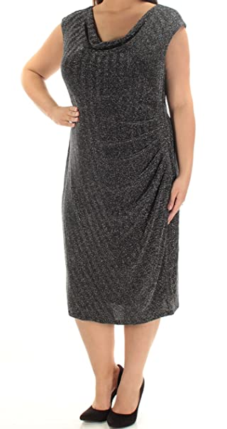 52115e085d4 RALPH LAUREN  174 Womens New 1486 Black Metallic Sheath Dress 16W Plus B+B   Amazon.ca  Clothing   Accessories