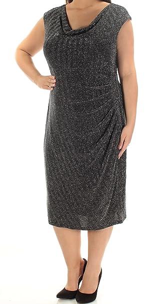 52115e085d4 RALPH LAUREN  174 Womens New 1486 Black Metallic Sheath Dress 16W Plus B+B   Amazon.ca  Clothing   Accessories